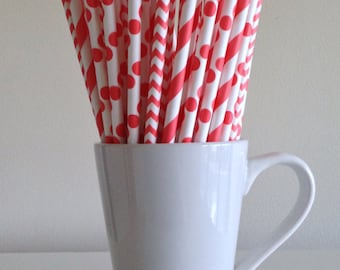 Coral Striped, Chevron, Polka Dot Paper Straws Party Supplies Party Decor Bar Cart Cake Pop Sticks  Party Graduation