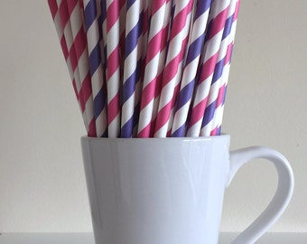Dark Pink and Purple Striped Paper Straws Party Supplies Party Decor Bar Cart Cake Pop Sticks Mason Jar Straws Graduation Party Graduation