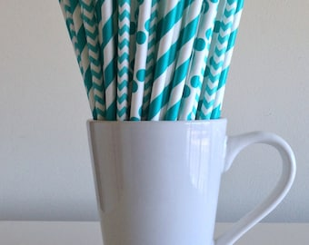 Teal Paper Straws Aqua Striped, Chevron, Polka Dot Party Supplies Party Decor Bar Cart Cake Pop Sticks  Party Graduation