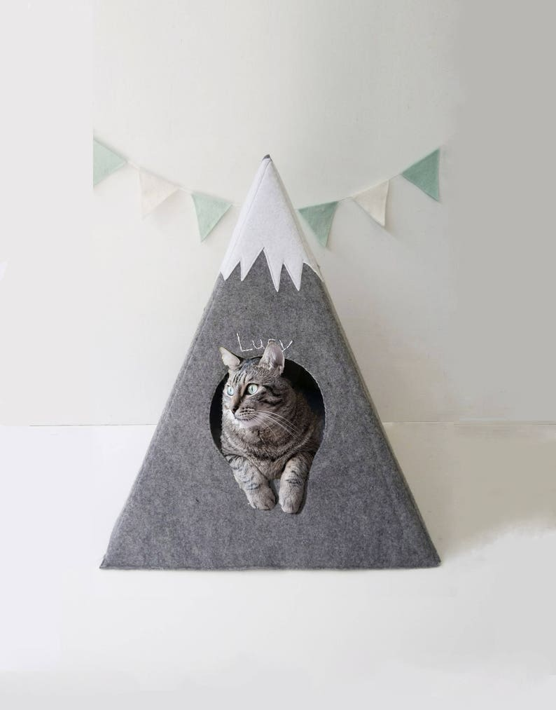 Cat bed with a matching pillow  cat teepee  with a matching image 0