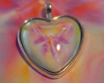Healing Angelic Energy Heart Pendant ARCHANGEL ARIEL Guardian Angel by Glenyss Bourne- Antique Silver