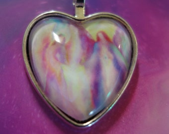 Infinite Love Angelic Energy Heart Pendant Guardian Angel by Glenyss Bourne- Antique Silver Heart