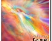 Archangel Jophiel, Guardian Angel Art Spirit Painting, Signed Giclee Print by Glenyss Bourne