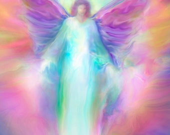 ARCHANGEL Raphael Healing, Guardian Angel, Large Signed Giclee Print Angel Art on Paper or Canvas by Glenyss Bourne