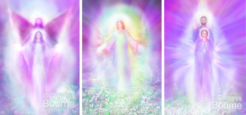 Transformation Tryptich  3 Angelic Energy Paintings  Signed image 0