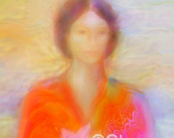 Spiritual Painting of KWAN YIN, A3 size Signed Giclee Print, Angelic Artwork by Glenyss Bourne