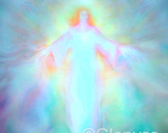 ARCHANGEL HANIEL Guardian Angel Painting Large Signed A3 Giclee Print on Canvas by Glenyss Bourne