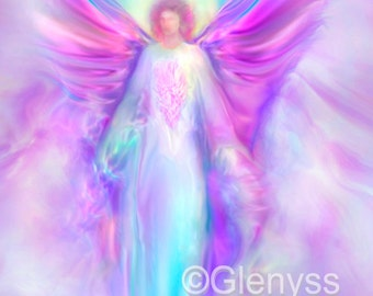 ARCHANGEL Raphael, Guardian Angel Painting Large Signed A2 Giclee Print on Canvas by Glenyss Bourne