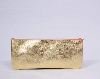 Eli - golden leather pencil case