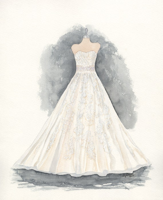Custom Wedding Dress Painting Dress Drawing Holiday Gift Etsy