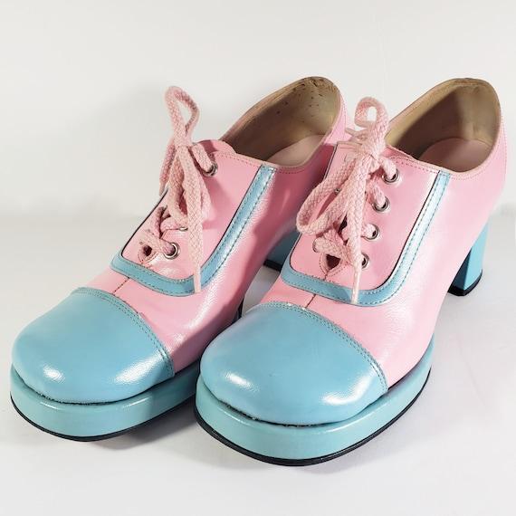 Vintage Oxford Rockabilly Platform Heels Pastel Pi