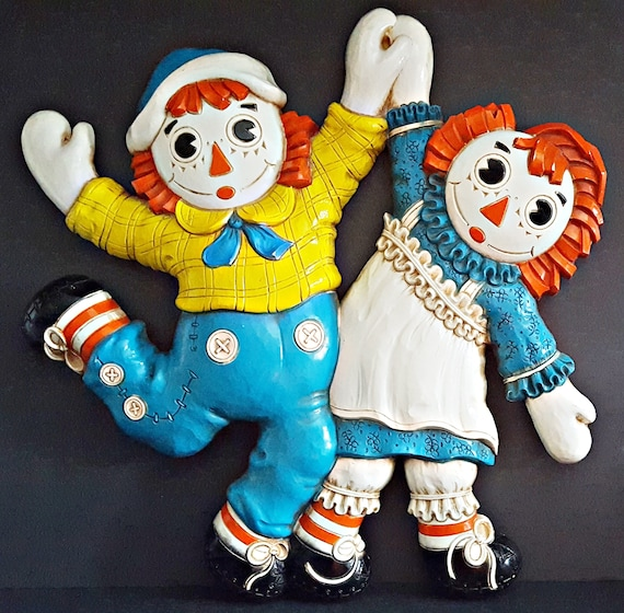 Vintage Raggedy Ann & Andy In Love Dancing Doll Wall Decor Bobbs Merrill  1977
