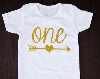 Gold Glitter 1st Birthday Outfit...1st Birthday Bodysuit...Baby Girl First Birthday Bodysuit...Gold Birthday...Heart Arrow Shirt...First