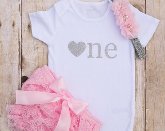 Twinkle Twinkle Little Star Birthday...Pink and Silver Birthday Outfit...Shirt Set...First Birthday Outfit...1st Birthday Girl Outfit...One