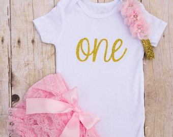 Pink and Gold First Birthday Outfit...1st Birthday Girl Outfit...One Year Old Birthday Outfit...Pink and Gold Birthday...Cake Smash Outfit