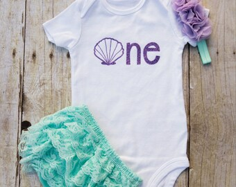 Mermaid Birthday Party Outfit...Under the Sea First Birthday Outfit...Mermaid First Birthday Girl Outfit...Seashell Birthday Outfit