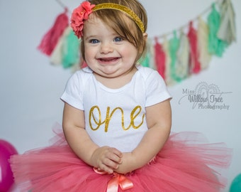 First Birthday Outfit Girl...Baby Girl 1st Birthday Outfit...Baby Girl Clothes...Coral and Gold Birthday...Tutu Birthday Set...1st Birthday