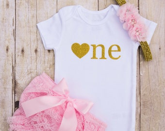One Year Old Girl Outfit...First Birthday Girl Outfit...Cake Smash Outfit Girl...Pink and Gold First Birthday...One Year Photo Outfit...Baby