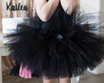 Black Tutu...Cat Birthday Party Outfit...Baby Girl Tutu...Black Cat Tutu...1st Birthday Tutu...Second Birthday Outfit Girl..Black Tulle Tutu