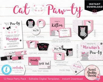 Cat Party Printables...Kitten Party Decorations...Cat Pawty Digital Download Printable Pack...Kitty Party DIY Instant Download Templett