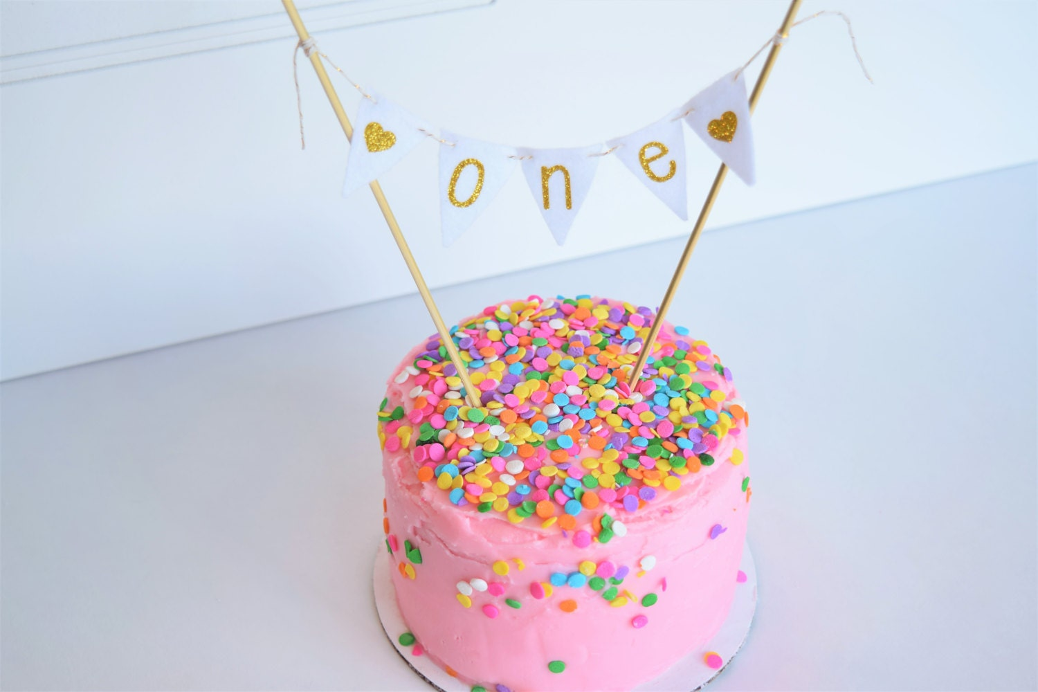 First Birthday Cake Topper Year Old Cake Toppergold Etsy