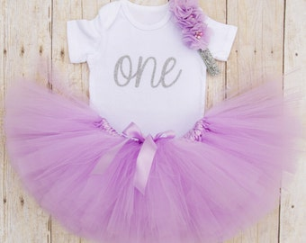 One Year Old Girl Birthday Outfit...Purple and Silver Tutu...First Birthday Tutu Outfit...Baby Girl 1st Birthday Outfit...Cake Smash Outfit