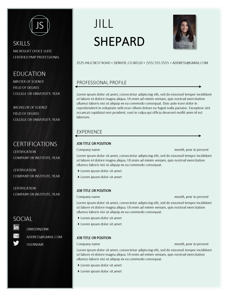 The Jill Creative Resume Template - Professional Resume Template Instant  Download for the Stylish, mint