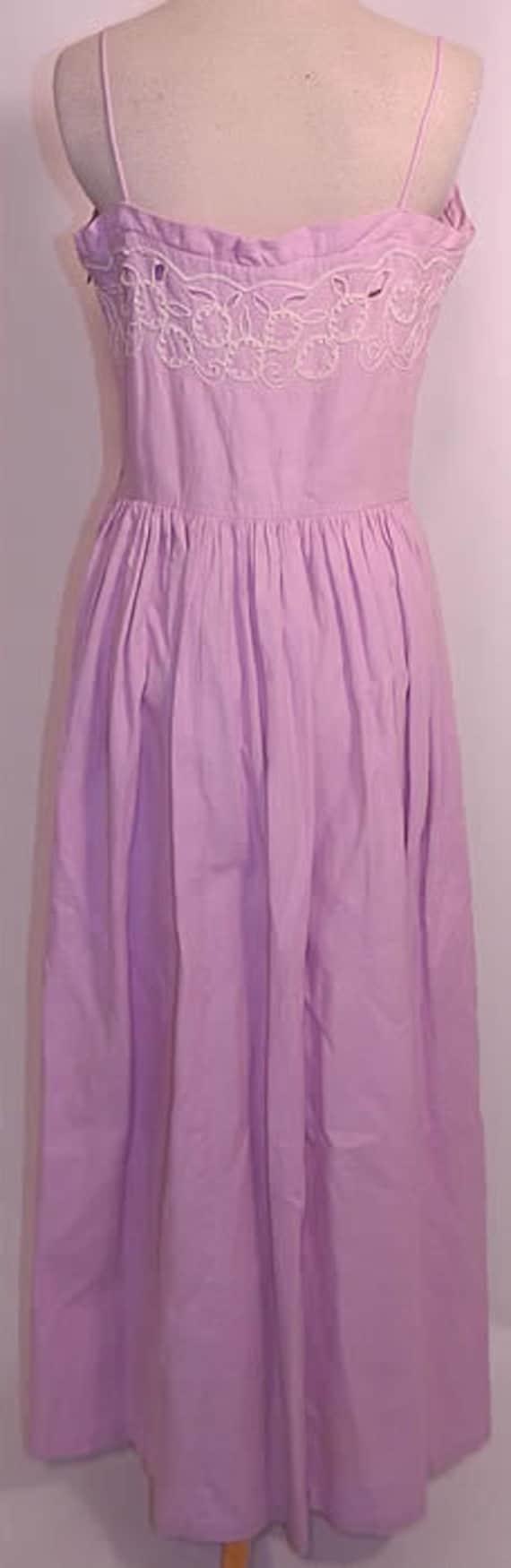 Vintage 1940s Lilac Dress   Lilac Cotton Pique Em… - image 5