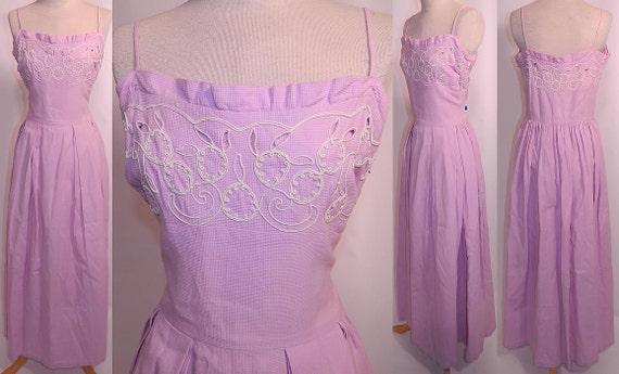 Vintage 1940s Lilac Dress   Lilac Cotton Pique Em… - image 2