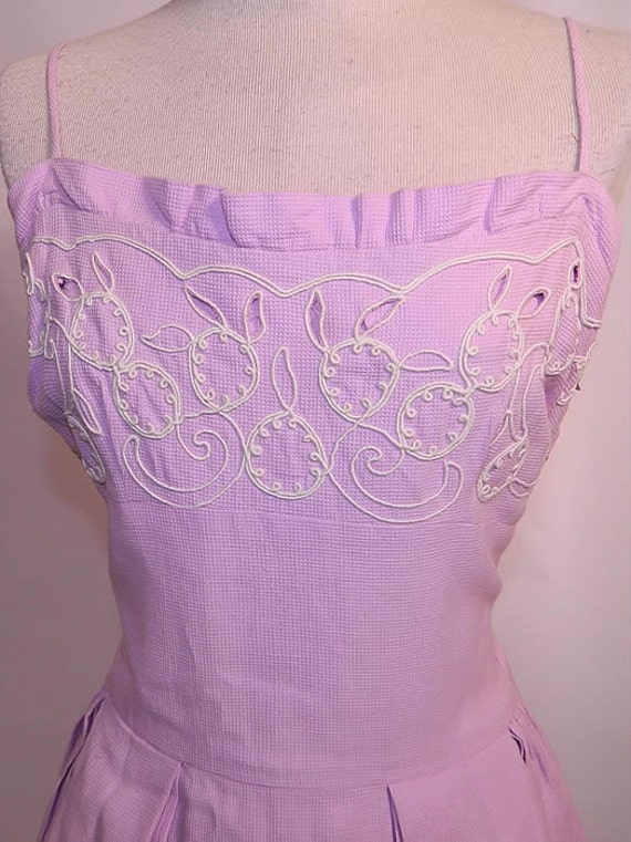 Vintage 1940s Lilac Dress | Lilac Cotton Pique Emb