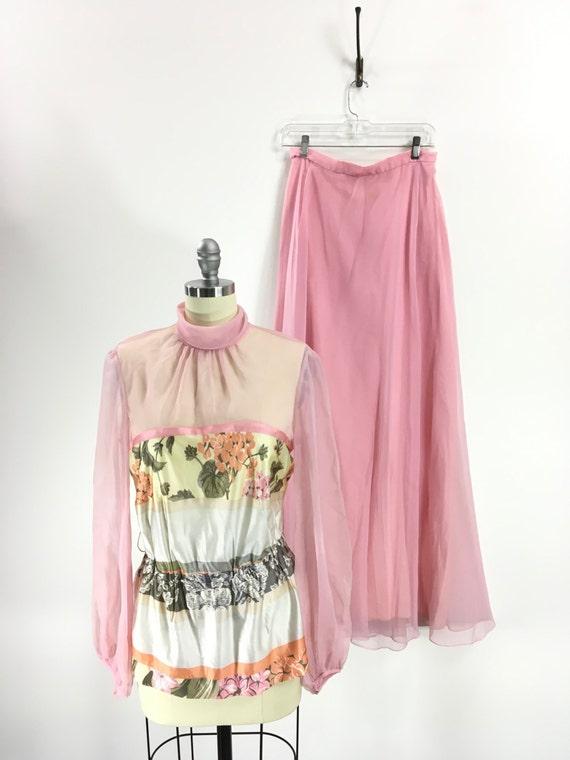 Vintage 1970s Pink Floral Chiffon Maxi Set Vintage