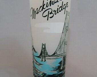 Vintage 1950s Souvenir Glass, Mackinac Bridge, Michigan, Barware, Collectible
