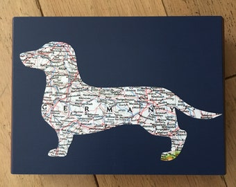 Dachshund of Germany Atlas Map Keepsake box