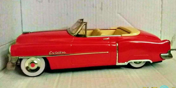 Red Cadillac Eldorado Convertible 50s Fifties Friction Toy Car Etsy