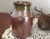 Reduction Fired, Salt Glazed, stoneware, miniature, hand made, wheel thrown, traditional jar, crock, jug, pottery, ceramic, collectible