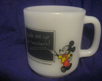 MICKEY MOUSE TEACHER Mug Fire King Glasbake School House 1981