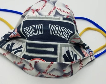 Adult NY Yankees face mask/face covering with gold spandex ear attachments, 100% machine washable & reversible neck tether New York Yankees