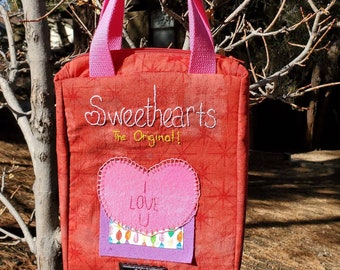 Sweethearts Purse handmade, hand embroidered, and a creation by me. Valentine's Day accessory and one of a kind purse