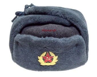 f3d9a0f99e80 Authentic Ushanka Soldier Military Winter Russian Hat has Long ears Soviet Badge  Army Vintage