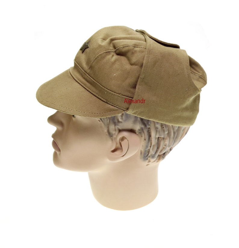 Russian Army Afghan Cap Military Soldier Hat Soviet USSR Star Uniform Khaki Vintage