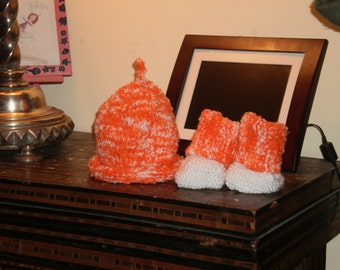 Cap and Bootees  size 3 to 6 months  Orange Sorbet -- yum