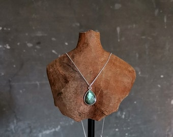 Labradorite necklace sterling silver, Blue green labradorite pendant, Small gemstone necklace, Unique gift for women, Every day necklace