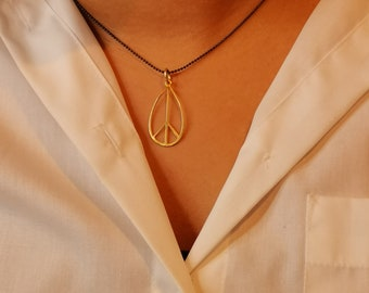 Gold Peace Sign Necklace, Silver Oxidized Ball Chain, Peace Charm, Dainty, Sterling Silver Oxidized,Gold Peace Symbol, Peace Necklace