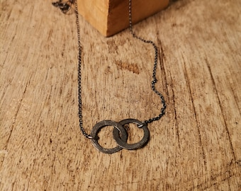 Oxidized Silver Circle Necklace, Linked Circle Necklace, Oxidized Circle Necklace, Handmade Necklace, Friendship Necklace, wife gift jewlery