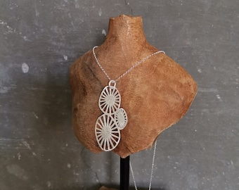 Contemporary Silver Pendant, Sterling Silver Brushed, Silver Necklace, Lightweight, Simple Necklace, Delicate, Artisan.