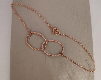 Delicate Rose Gold Bracelet, Fine Hammered Ovals, Rose Gold Rings, Dainty Friendship Bracelet, Everyday, Minimalist, Contemporary Bracelet.