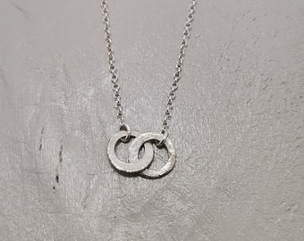 Tiny Silver Circles Necklace, Handmade Necklace, Sterling Silver, Dainty, Cute Small Circles Necklace, Friendship, Modern, Simple Necklace.