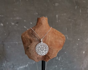 Silver Mandala Necklace, Silver Brushed Pendant, Double Sided, Large Round Silver Charm, Long Chain, Geometric Necklace, Spiritual Jewelry.