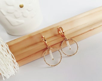 Creole earrings golden rings and transparent white pearls