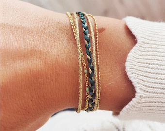 Blue, green and gold braided multi-row cuff bracelet